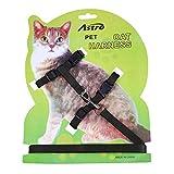 Pecute Pet Cat Lead Leash Halter Harness Kitten Nylon Strap Belt Safety Rope Adjustable Cat Dog Collar (Black)