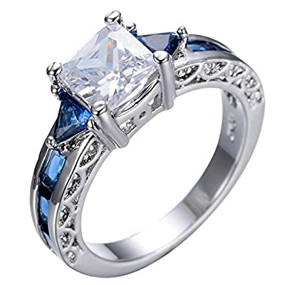 B-Star White Gold Filled Rings With Blue Sapphire & White Zircon, Size 6-10