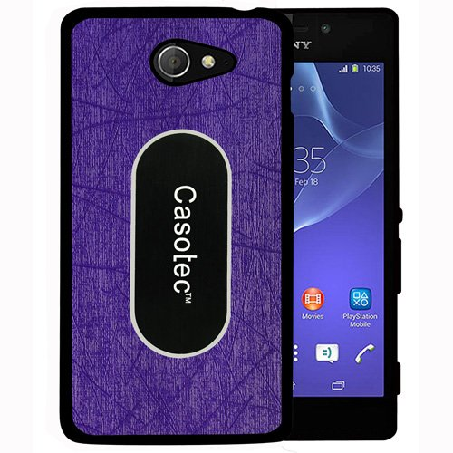 Casotec Metal Back TPU Back Case Cover for Sony Xperia M2 - Purple  available at amazon for Rs.149