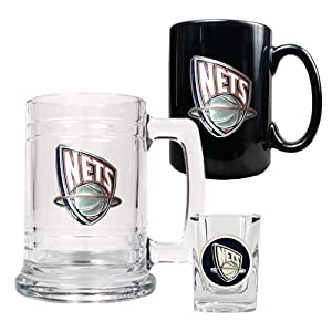 NBA New Jersey Nets 15-Ounce Tankard, 15-Ounce Ceramic Mug & 2-Ounce Shot Glass... by Great American Products