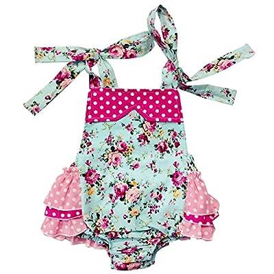 DQdq Baby Girls' Cotton Ruffles Romper Summer Dresses with Headband