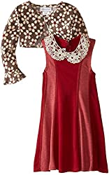 Bonnie Jean Big Girls Novelty Knit Dress with cardigan