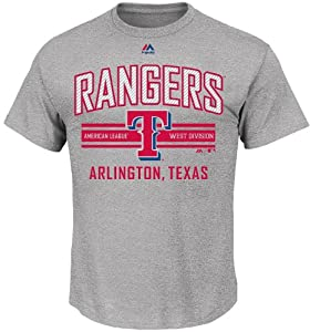 MLB Texas Rangers Grey 1st to 3rd Short Sleeve T Shirt by Majestic by Majestic