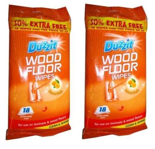 2-x-18-duzzit-laminate-wood-floor-extra-large-wipes-clean-shine-lemon-fresh