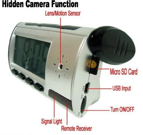 New style Clock Spy Camera with Video Photo Motion Detection and Remote Control Function SUPPORT TF CARD