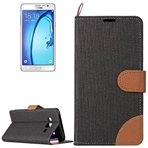 Crazy4Gadget Denim Texture Horizontal Flip Leather Case with Magnetic Snap & Card Slots & Holder & Sling for Samsung Galaxy On7 / G600(Black)