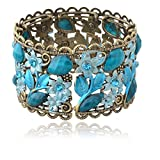 VTG Blue Flower Bronze Resin CZ Rhinestone Drop Hollowed Bracelet Bangle thumbnail