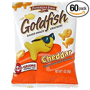 Pepperidge Farm Cheddar Flavor Goldfish Crackers, 1 Ounce Single Serve Package (Pack of 60)