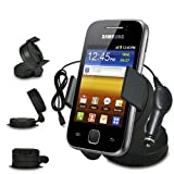 Fone-Case Samsung Galaxy Y S5360 In Car Mini 360 Rotating Windscreen Cradle Mount Mobile Phone Holder With 12V Micro USB In Car Charger