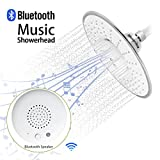 Morpilot-Wide-Drenching-Round-Shape-Top-Spray-Rain-Shower-Head-with-Waterproof-Music-Jet-Wireless-Bluetooth-Speaker-Polished-Chrome-Showerhead-Audio-Box-Built-in-Mic-with-Answer-Calls-Button