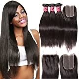 B&F Hair Brazilian Virgin Hair Straight 3pack /Lot Bundles with 1piece Middle Part Lace Closure 100% Unprocessed Human Hair Weave Extensions Natural Color (16 18 20+ 12 Closure)