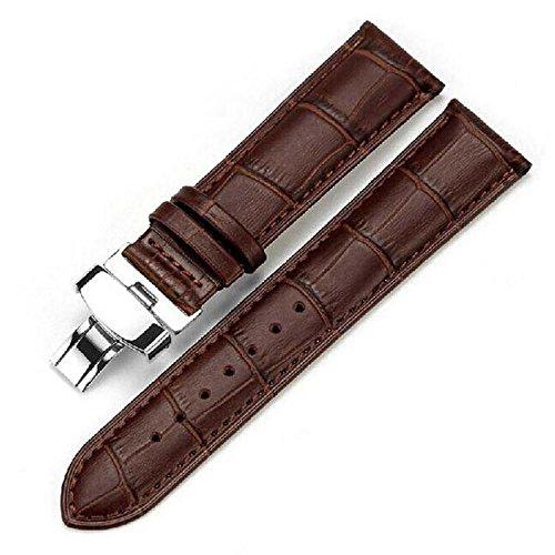 本革 腕時計 交換ベルト Dバックル クロコダイル型押し ブラウン 茶 MINO Creates クリーニングクロス (22mm)