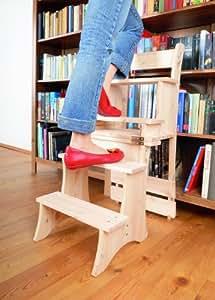 , Chaise de l'escabeau en bois de pin: Cuisine & Maison