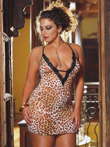 Plus Size Lingerie Babydoll Chemise Dress With Thong Queen Size Sexy