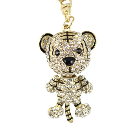 3D Gold 18k Gold plated Little Crystal Tiger Animal Handbag Bag Charm Keyring Key ring Fashion Accessories