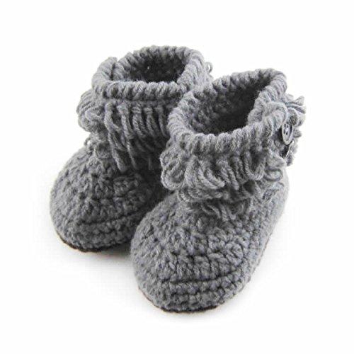 AStorePlus® Baby Newborn Prewalker Shoes Handmade Knitted Crochet Booties-Gray Crochet Baby Booties Free