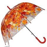 Kung Fu Smith Auto Open Transparent Bubble Shape Cartoon POE Stick Umbrella (Red Leaves)