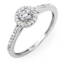 0.50 Carat (ctw) 14k Gold Brilliant Round Cut Diamond Ladies Engagement Bridal Halo Ring 1/2 CT by DazzlingRock