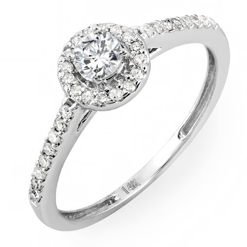 14k White Gold Brilliant Round Cut Diamond Ladies Engagement Bridal Ring (0.45 cttw, I-J Color, I1- I2 Clarity)