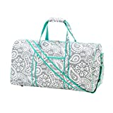 Custom Personalized 21 in Print Duffle, Overnight, Carry On Bag with Outside Pocket and Shoulder Strap (21 inch, Parker Paisley)