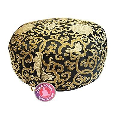 Meditationskissen Sitzkissen Kissen schwarz gold Lotus Design mit Buchweizenspreu Füllung