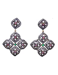 Victorian Style Synthetic Moissanite Emerald  Tourmaline Studded Silver Earring