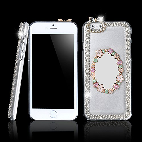 Ic Iclover Luxury Crystal Rhinestone Diamond Bling Bumper Skin 3D Mirror Hard Pc Plactic Case Cover For Apple 4.7'' Iphone 6