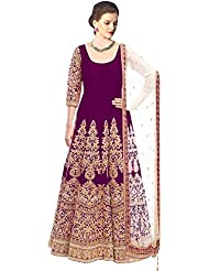 Clickedia Women's Bhagalpuri Purple Embroidered Semi Stitched Anarkali - Dress Material