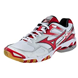 Mizuno Women\'s Wave Bolt 3 Volleyball Shoes - White & Red (White/Red, 11)