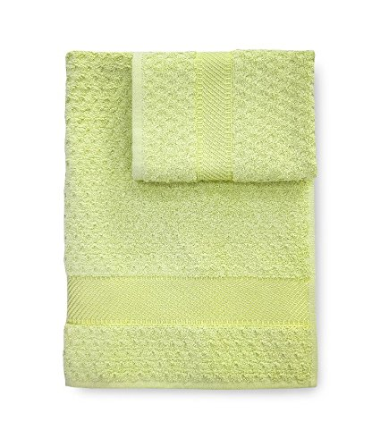 Set asciugamani Bagno spugna Sirena asciugamano + ospite CALEFFI -Verde mela
