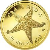 カナダ 2013年 海洋生物 ヒトデ 50セント金貨 プルーフ (CC1G30030)