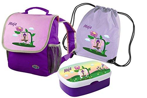 Kindergartenrucksack-Happy-Knirps-mit-Name-und-Wunschmotiv-lila-SET-4-Rucksack-Brotdose-und-Turnbeutel