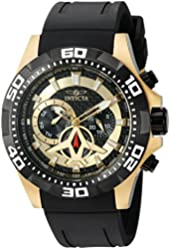 Invicta Men's 'Aviator' Quartz Stainless Steel and Polyurethane Automatic Watch, Color:Black (Model: 21739)