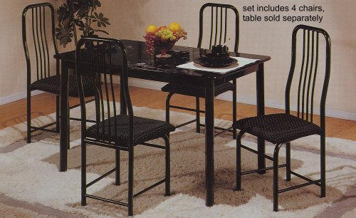 Set of 4 Black Metal Frame Dining Room Chairs