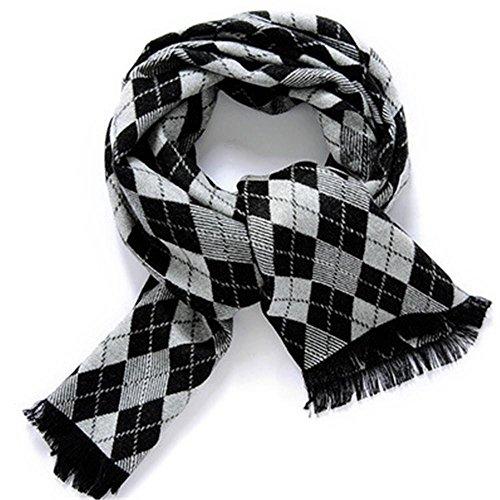 herren-super-weich-warm-winter-schal-black-and-white-grid
