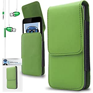 iTALKonline Panasonic KX-TU311 Green PREMIUM PU Leather Vertical Executive Side Pouch Case Cover Holster with Belt Loop Clip and Magnetic Closure Includes Green Premium 3.5mm Aluminium High Quality In Ear Stereo Wired Headset Hands Free Headphones with Built in Mic Microphone and On Off Button
