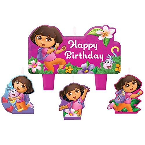 Dora the Explorer 'Flower Adventure' Mini Molded Cake Candles (4pc)