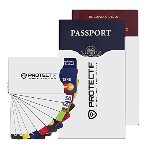 RFID Blocking Sleeves #1 Rated Credit Card Protector & Passport Identity Theft Protection Case Set of 12 - Smart Holders Fit Purses Wallets Cell Phones - Shields Radio Frequency ID Theft (Radio Frequency Protection Sleeve compare prices)