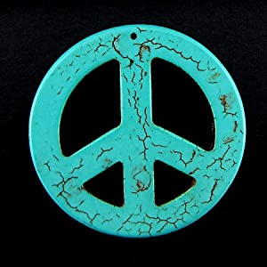 54mm blue turquoise peace sign coin disc pendant bead