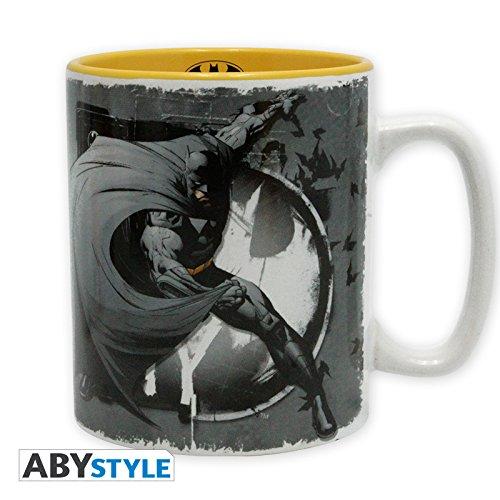 Batman - tazza con logo - serie DC Comics - ceramica - 460ml - grigio/giallo
