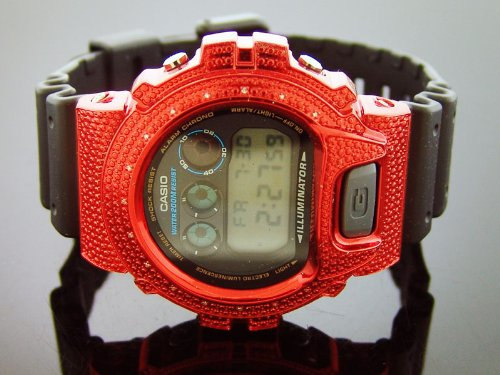 Men Casio G Shock 0.15ct Diamond Black Face Watch 6900 Red Case & Black Face