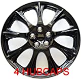 15″ SET OF 4 ICE BLACK HUBCAPS WHEEL COVERS DESIGN ARE UNIVERSAL HUB CAPS FIT MOST 15 INCH WHEELS