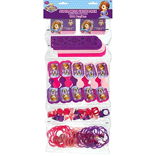 Amscan Fun Filled Disney Sofia Super Mega Mix Value Set Birthday Party Favour , Multicolor, 24 x 9 1/4 by Amscan