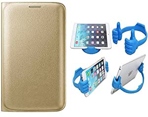 Novo Style Samsung Galaxy S6 Edge Premium PU Leather Quality Golden Flip Cover+ Ok Stand For Smartphones And Tablets