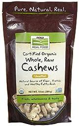 NOW Foods Organic Raw Cashews, 10 oz