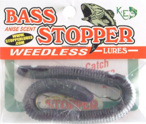 K&E Fish Lures Soft Weedless Bass Stopper Worm 2 Hook Purple White