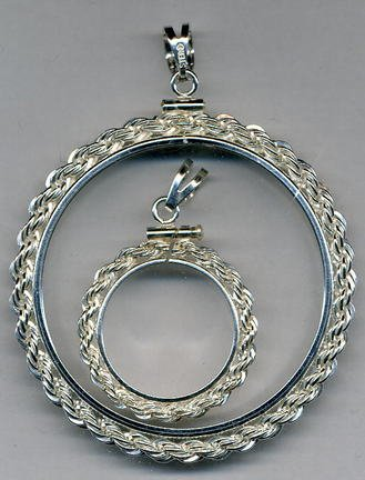 Rope Style Sterling Silver Coin Necklace Bezel / Pendant (Half Dollar Size)
