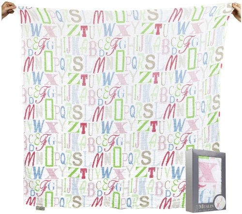 The Little Linen Company Australia Single Pack Muslin - Letters - 1