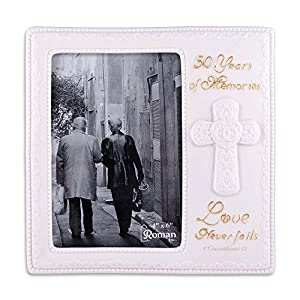 "Love Never Fails 50th Golden Wedding Anniversary Picture Frame Holds 4""x6"" Photo"
