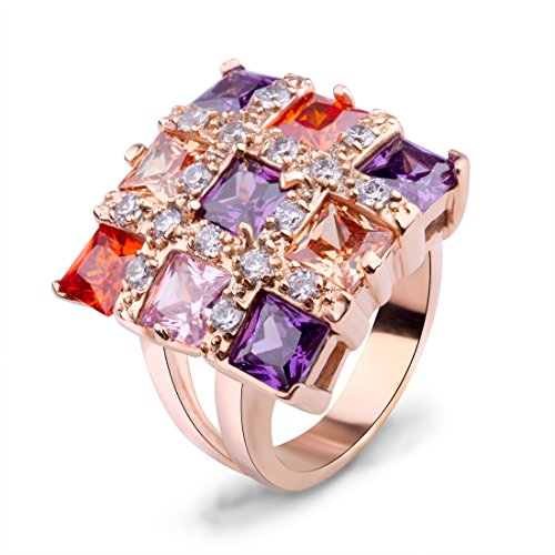Bamoer (Buy Ring Get Stud Earring) Champagne Gold Plated Brass Women Rings Anniversary Jewelry (7)